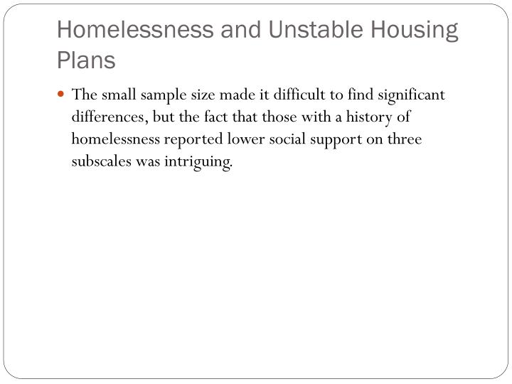 Homelessness and Unstable Housing Plans