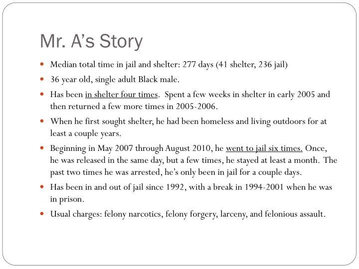 Mr. A's Story