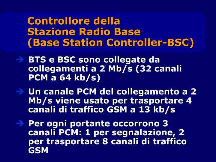 BTS e BSC sono collegate da collegamenti a 2 Mb/s (32 canali PCM a 64 kb/s)