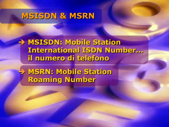 MSISDN & MSRN