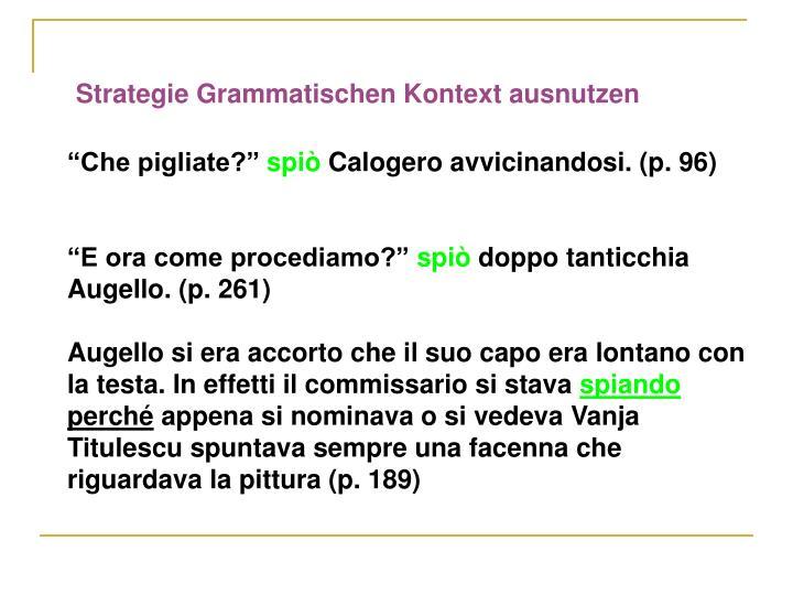 Strategie Grammatischen Kontext ausnutzen