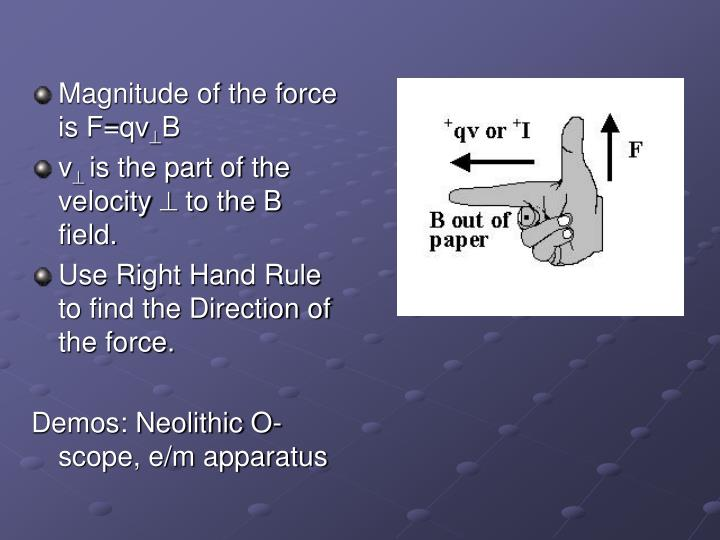 Magnitude of the force is F=qv