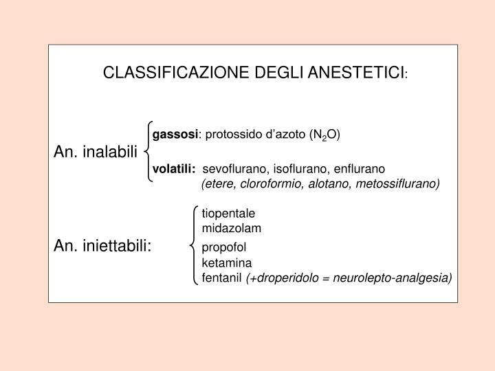 CLASSIFICAZIONE DEGLI ANESTETICI