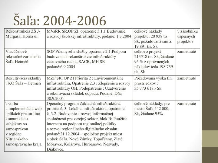 Šaľa: 2004-2006