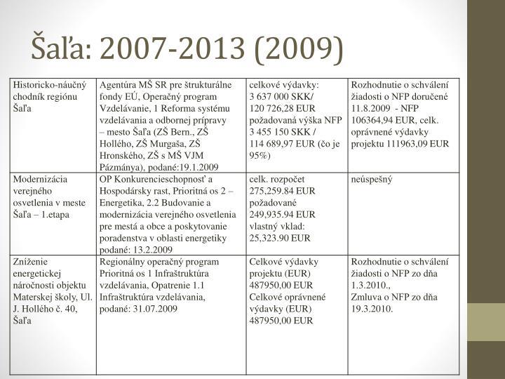 Šaľa: 2007-2013 (2009)