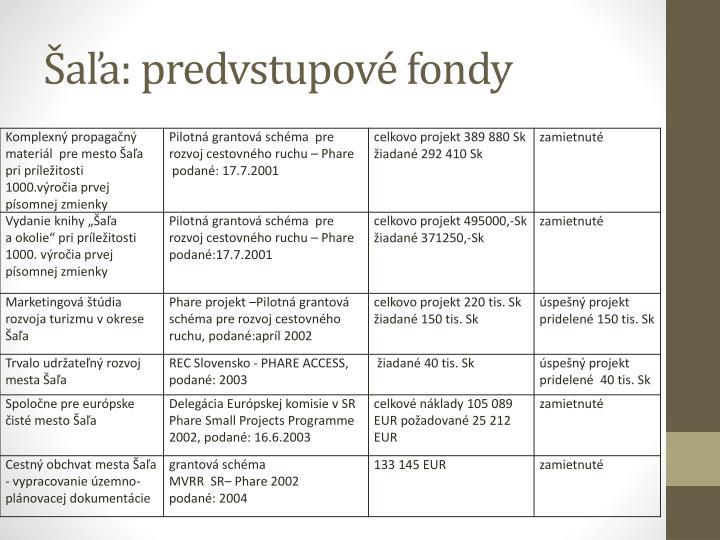 Šaľa: predvstupové fondy