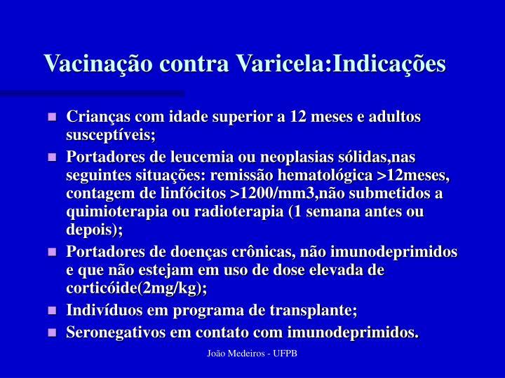 Vacinação contra Varicela:Indicações