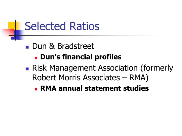 Selected Ratios
