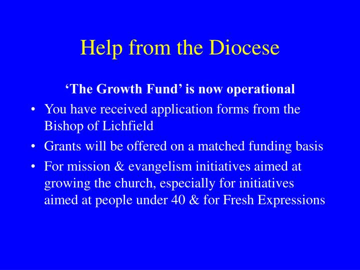 Help from the Diocese