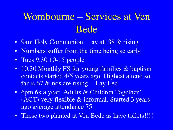 Wombourne – Services at Ven Bede