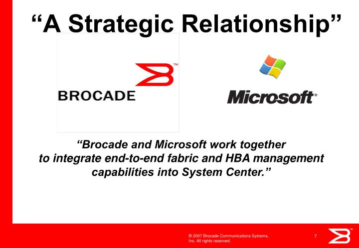 """A Strategic Relationship"""