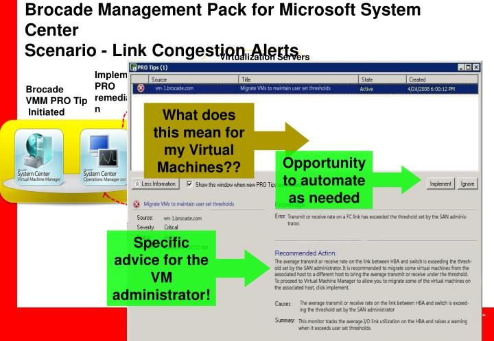 Brocade management pack for microsoft system center scenario link congestion alerts