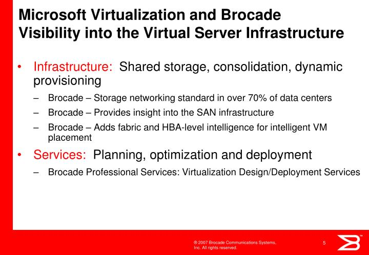 Microsoft virtualization and brocade visibility into the virtual server infrastructure