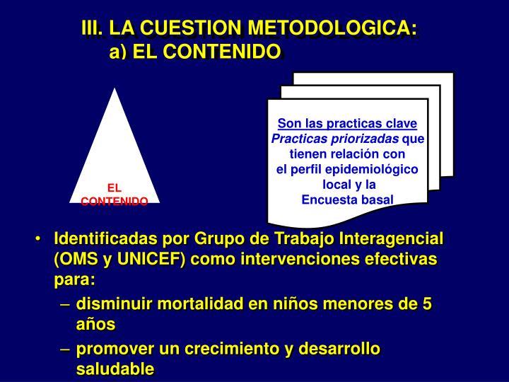 III. LA CUESTION METODOLOGICA: