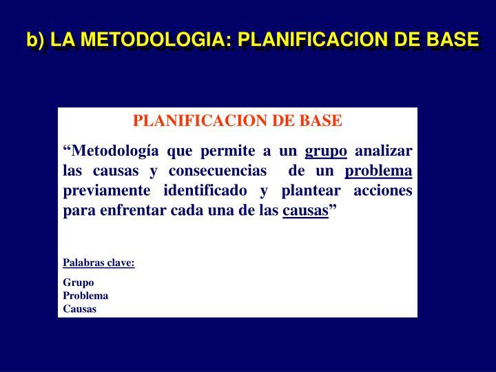 b) LA METODOLOGIA: PLANIFICACION DE BASE