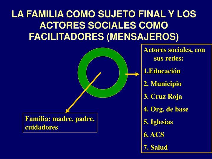LA FAMILIA COMO SUJETO FINAL Y LOS ACTORES SOCIALES COMO FACILITADORES (MENSAJEROS)