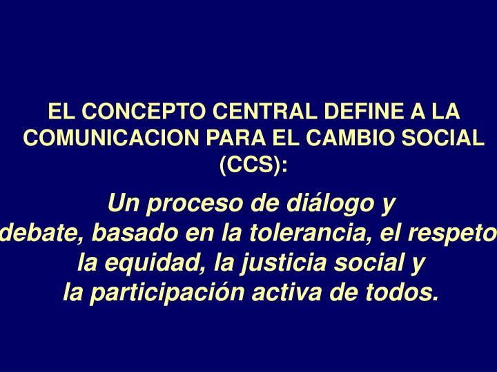 EL CONCEPTO CENTRAL DEFINE A LA COMUNICACION PARA EL CAMBIO SOCIAL (CCS):