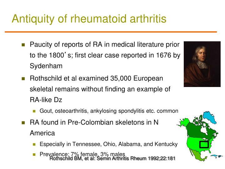 Antiquity of rheumatoid arthritis