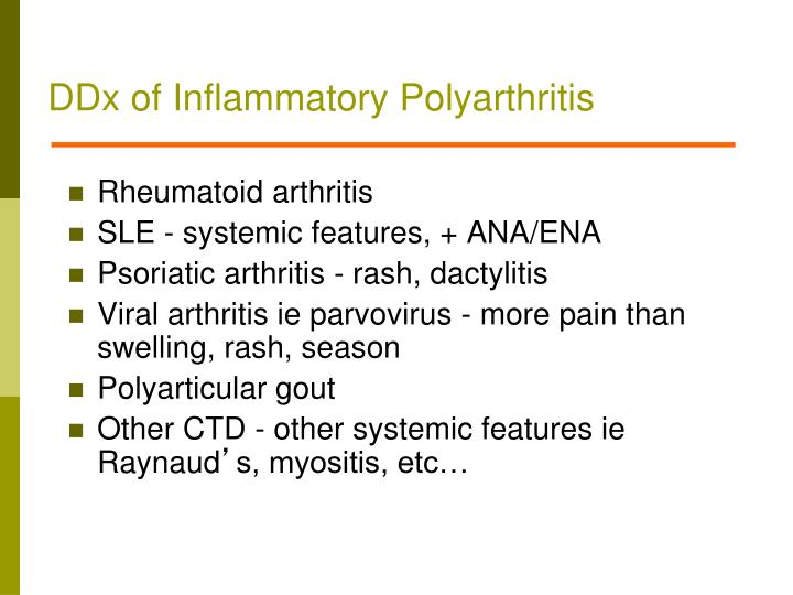 DDx of Inflammatory Polyarthritis