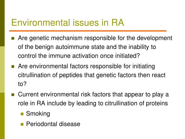 Environmental issues in RA