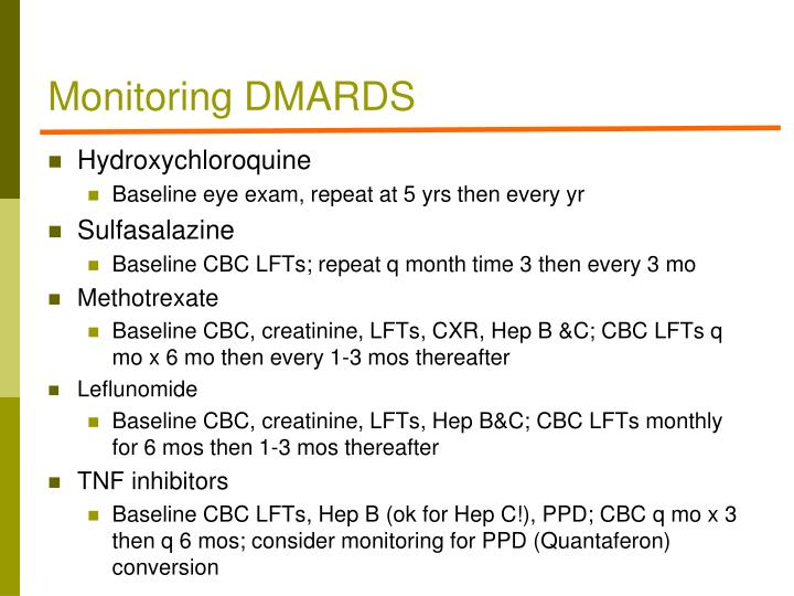 Monitoring DMARDS