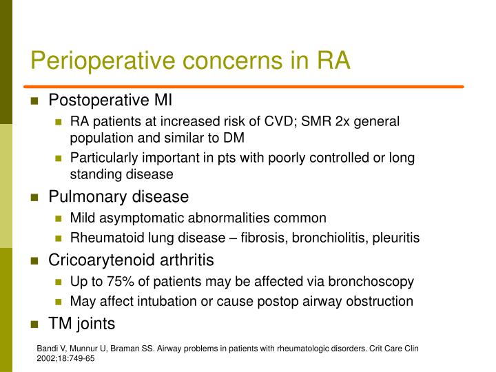 Perioperative concerns in RA