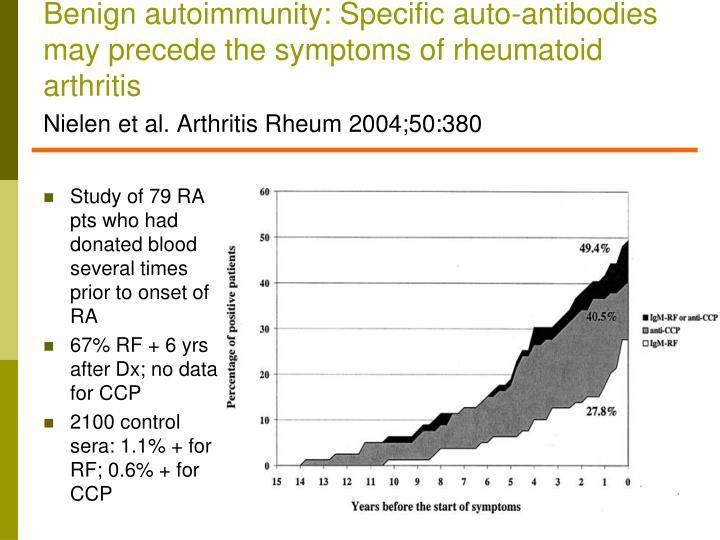 Benign autoimmunity: Specific auto-antibodies may precede the symptoms of rheumatoid arthritis