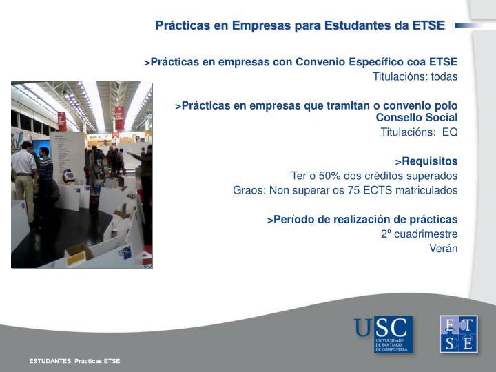 Prácticas en Empresas para Estudantes da ETSE