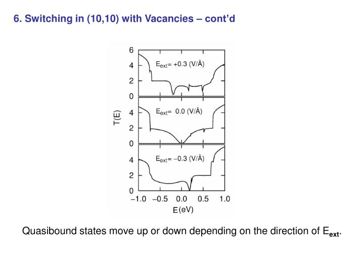 6. Switching in (10,10) with Vacancies – cont'd