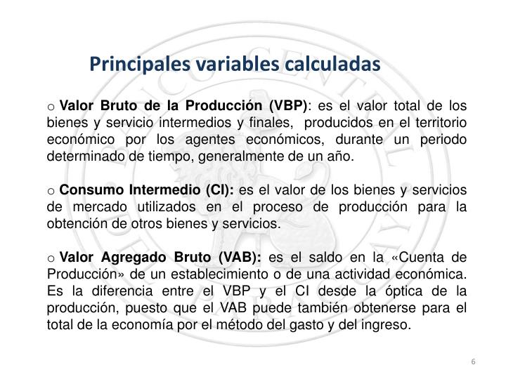 Principales variables calculadas