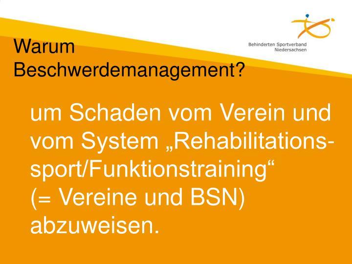 """um Schaden vom Verein und  vom System """"Rehabilitations-sport/Funktionstraining"""""""