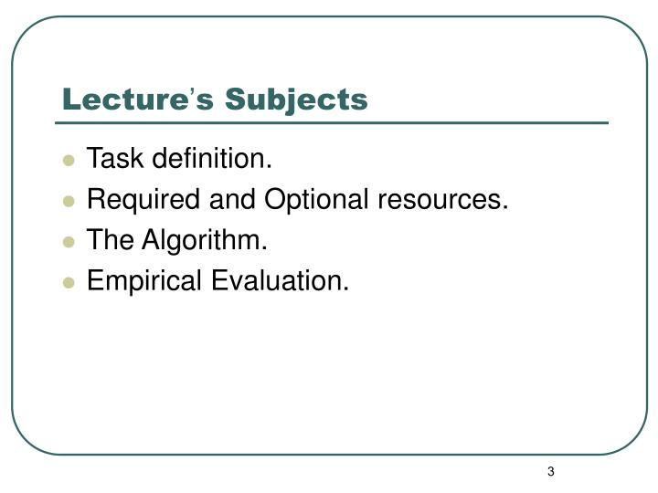 Lecture s subjects