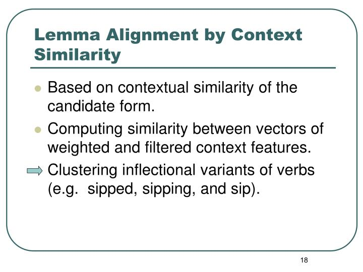 Lemma Alignment by Context Similarity