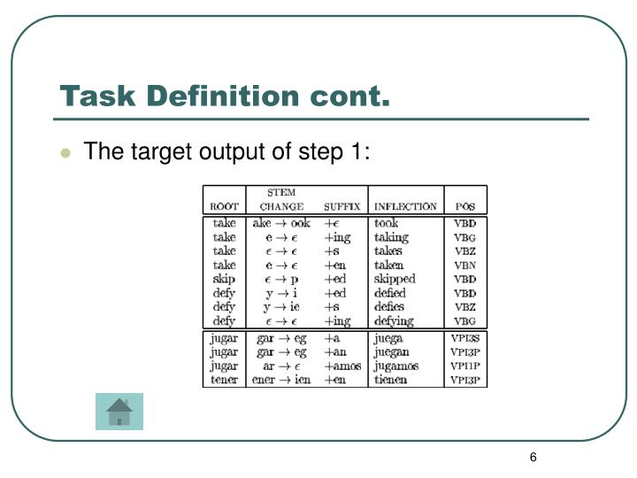 Task Definition cont.