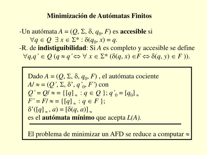 Minimización de Autómatas Finitos