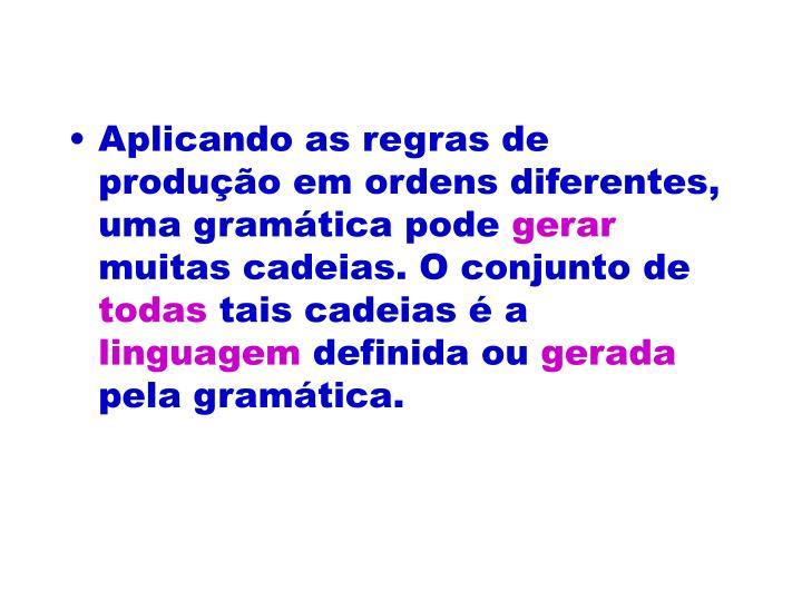 Aplicando as regras de produção em ordens diferentes, uma gramática pode