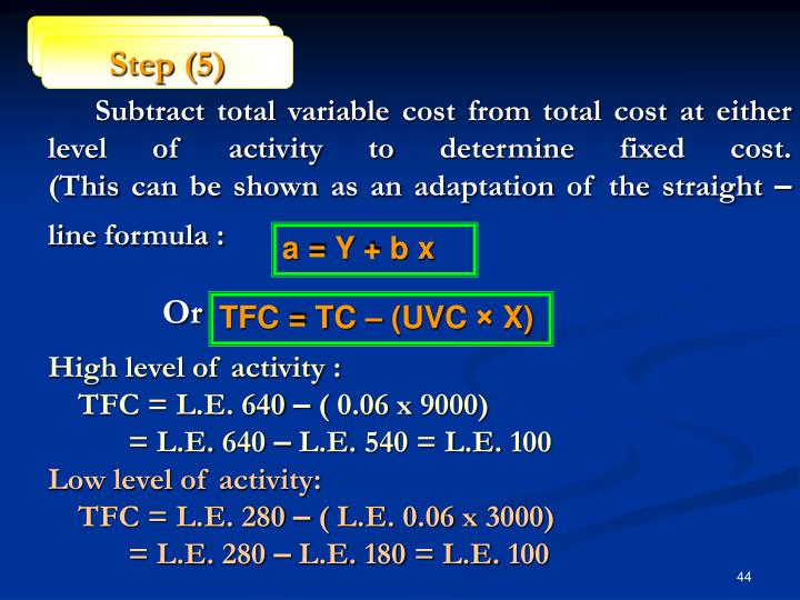 Subtract total variable cost from total cost at either level of activity to determine fixed cost.