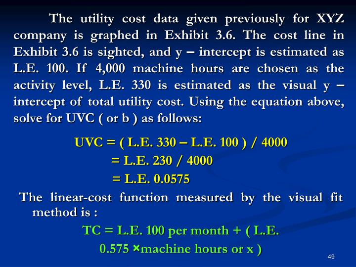 The utility cost data given previously for XYZ company is graphed in Exhibit 3.6. The cost line in Exhibit 3.6 is sighted, and y