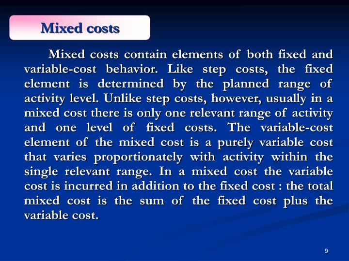 Mixed costs