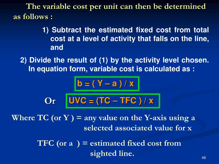 The variable cost per unit can then be determined as follows :
