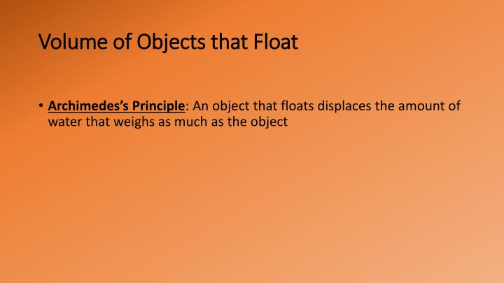 Volume of Objects that Float