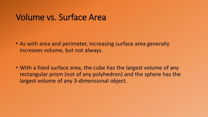 Volume vs. Surface Area