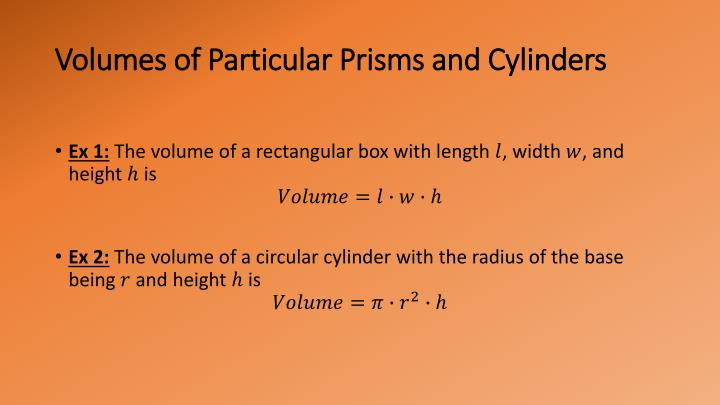 Volumes of Particular Prisms and Cylinders