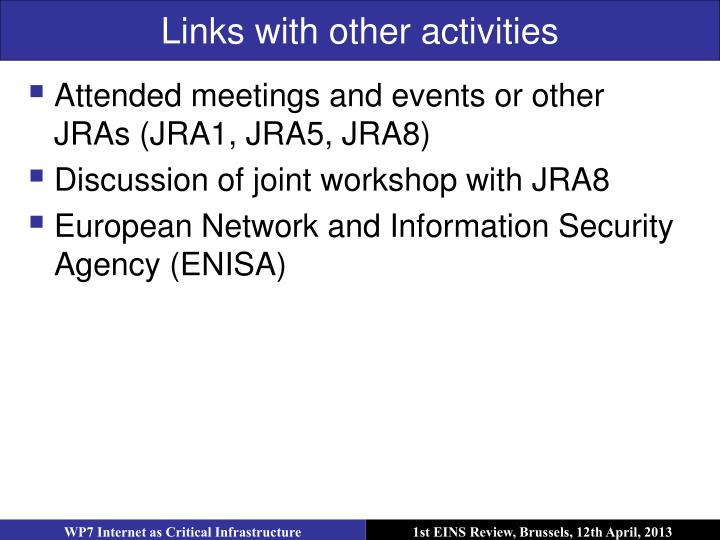 Links with other activities