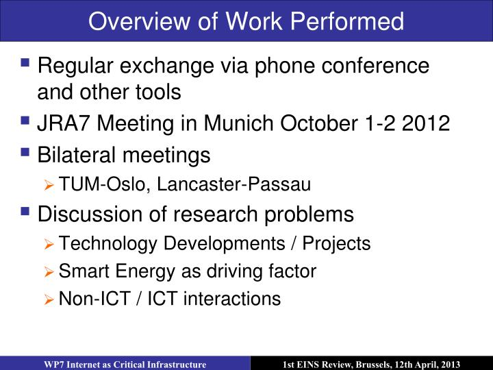 Overview of Work Performed