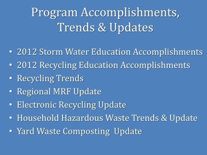 Program Accomplishments,