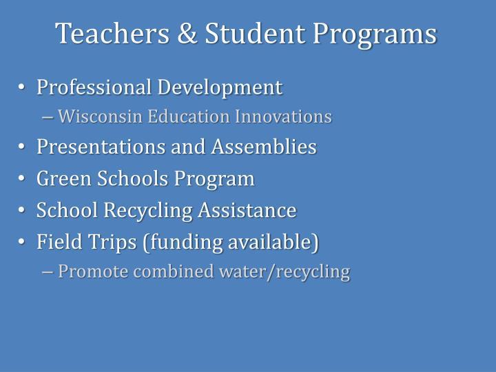 Teachers & Student Programs