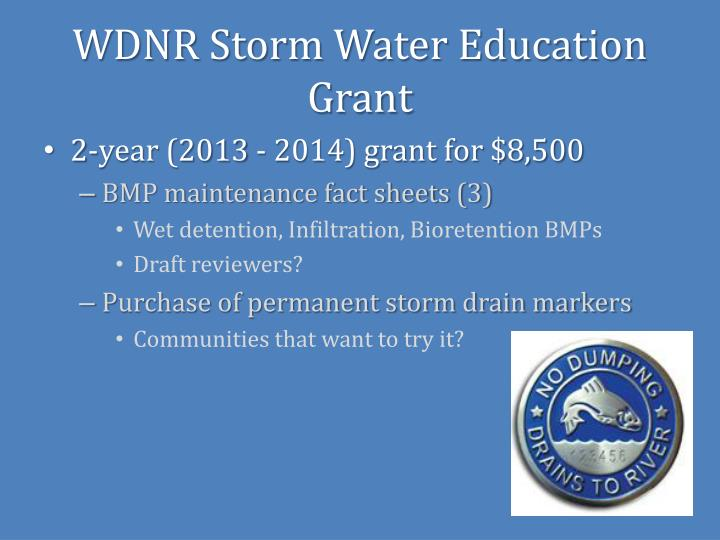 WDNR Storm Water Education Grant