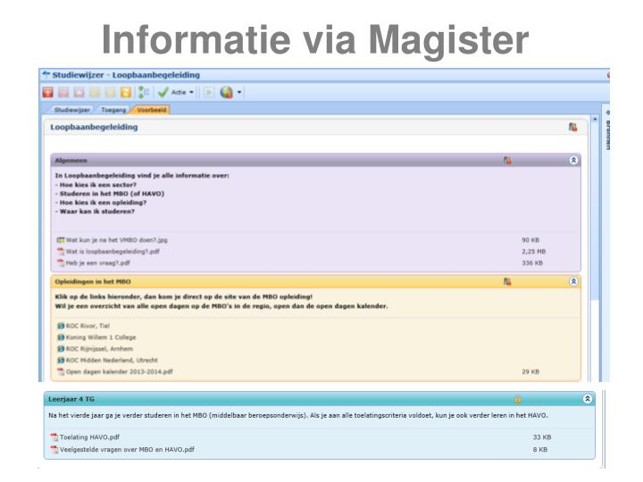 Informatie via Magister