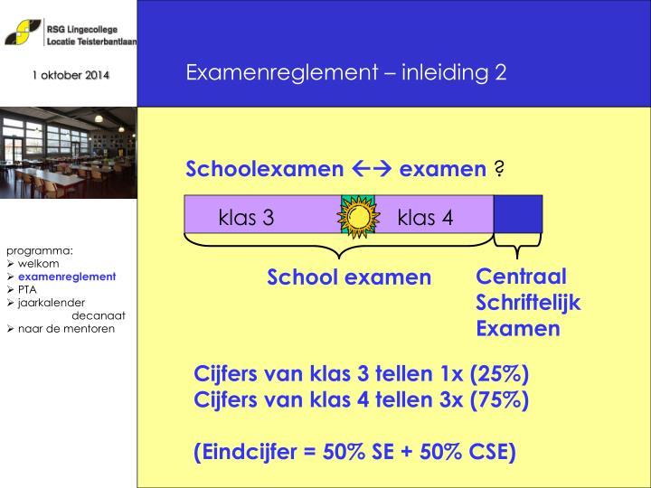 Examenreglement – inleiding 2